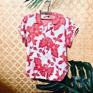 Vintage Rim Hawaii Red White Floral Hawaiian Shirt